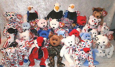 Ty Beanie Baby Babies Patriotic Red White Blue U-Pick Your Choice Retired Mwmt