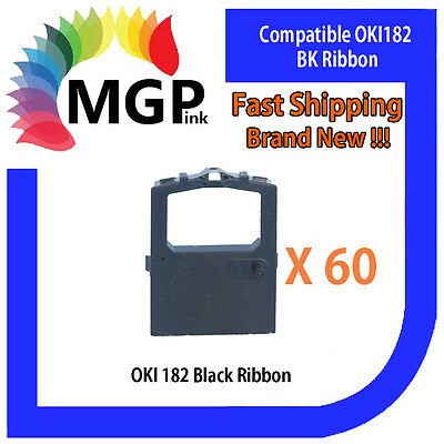 60x OKI-182 Compatible Black Ribbon – OKIDATA ML193/194/195/240/280/320/321/380