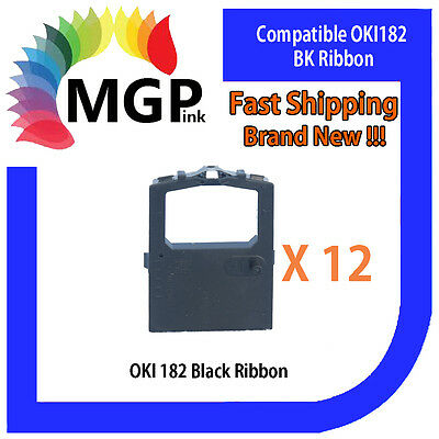 12x OKI-182 Compatible Black Ribbon – OKIDATA ML120/172/180/182/183/186/190/192