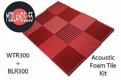 Red Pro Acoustic Foam Flat Block Wedge Tiles Pack Studio Room Treatment