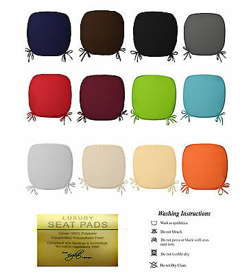 38cm x 38CM TIE ON REMOVABLE CHAIR SEAT PADS WITH TIES OFFICE HOME GARDEN USE
