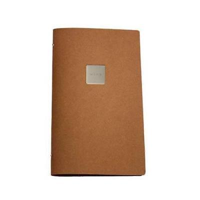 Deluxe Tuscan Leather Menu, Natural A4 Narrow w 4 Pockets, 'Wine' Badge