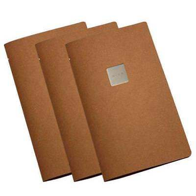 10x Deluxe Tuscan Leather Menu, Natural A4 Narrow w 4 Pockets, 'Wine' Badge