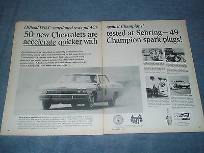 "1966 Champion Spark Plugs Vintage 2pg Ad Impala ""50 New Chevrolets are Tested..."