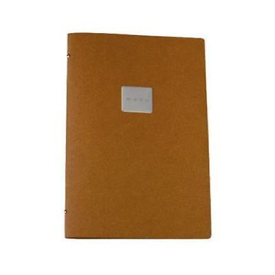 Deluxe Tuscan Leather Menu, Natural, A4 w 4 Pockets, 'Menu' Badge Restaurant