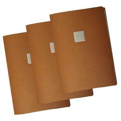 10x Deluxe Tuscan Leather Menu, Natural, A4 w 4 Pockets, 'Wine' Badge Restaurant