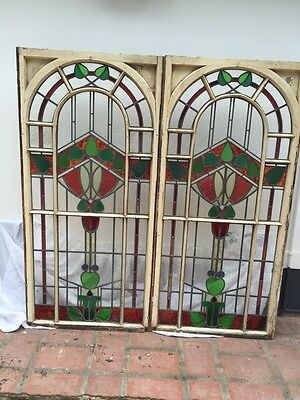 2 LARGE STAINED GLASS WINDOWS WOOD PERIOD OLD RECLAIMED ANTIQUE LEAD 1840s RARE
