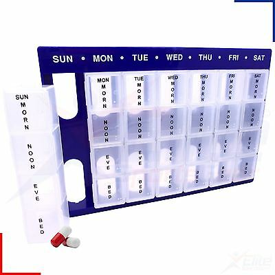 Large Weekly Pill Planner Storage Box Organiser Dispenser 28 Compartment Tray