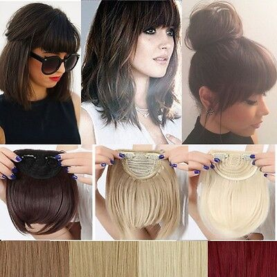 Real Thick Straight Bang Clip in on Fringe Hair Extensions Humans Hairpiece fc