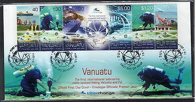 2014 joint issue Fiji - Vanuatu Submarine Cable System Map ship FDC