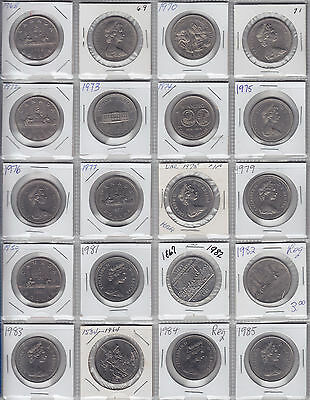Lot of 20 Different Canadian Dollars