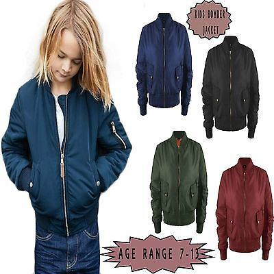 Celeb Children Girls Padded Bomber MA1 Coat Airforce Army Jacket Biker Military
