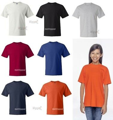 Hanes Youth Beefy-T Short Sleeve Cotton T-Shirt 5380 XS-L 13 Colors