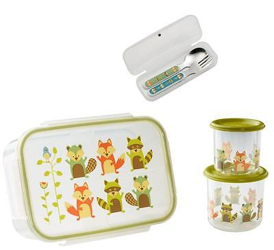 Sugarbooger Divided Lunch Box Silverware Sm Snack Storage Container Kids Set New