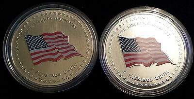 2 United States USA Colored Flag Medallion Token - One Silver 1 Nickel