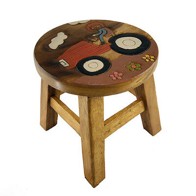 Childs/Childrens/Kids Wooden Stool - Tractor and Driver