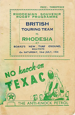 British Lions v Rhodesia published by the Matabeland Board 23 Jul 1938 RUGBY PRO