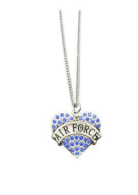 Air Force Silver Chain Necklace Blue Crystal Heart Pendant Jewelry Armed Forces