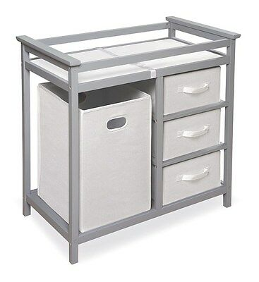 Modern Gray Baby Infant Changing Table w/Three 3 Baskets & Hamper Grey NEW