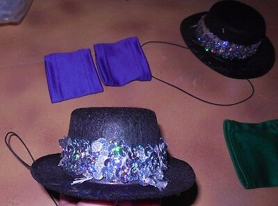 New in Pkg Mini Topper sequin hatband & wristbands Dance costume onesize top hat