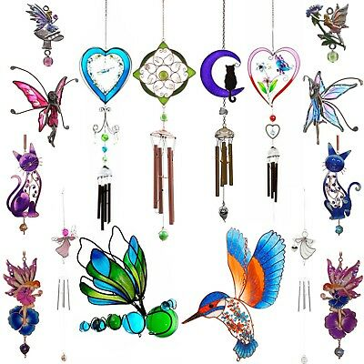 Wind Chimes Garden Outdoor Ornament Bird Angel Fairy Flower Butterfly Heart Cat