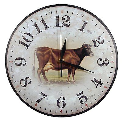 Jersey Cow Metal Wall Clock rustic vintage dairy farmhouse country kitchen decor