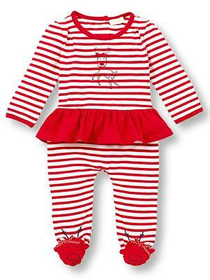 7596b584555 Le Top Baby Girls Christmas Run Rudolph Striped Skirted Jumpsuit Reindeer  Feet