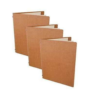 5x Deluxe Tuscan Leather Menu, Natural A5 w 2 Pockets, Restaurant / Cafe Menus