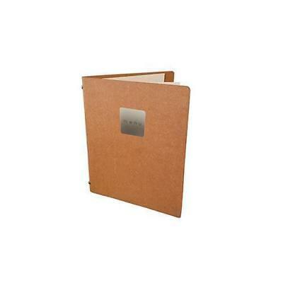 Deluxe Tuscan Leather Menu, Natural A5 w 2 Pockets, 'Menu' Badge Restaurant