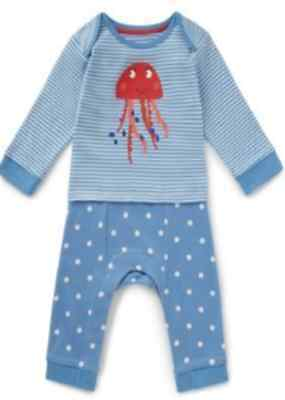 New Ex M&s Pure Cotton Girls Striped Jellyfish Bodysuit Romper 0-18 Months