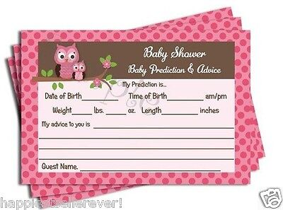 50 Pink Girl Damask OWL Baby Shower Advice Prediction Cards Favors Game Damask