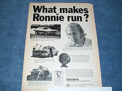 "1972 Valvoline Racing Motor Oil Vintage Sox & Martin Ad ""What Makes Ronnie Run?"""