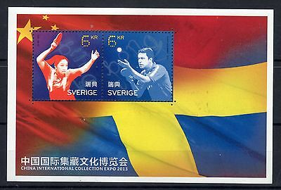 2014 joint issue sverige china expo 2013 pping pong MNH**