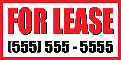 2'x4' FOR LEASE CUSTOM NUMBER Sign Vinyl Banner