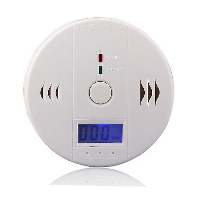 New CO Gas Carbon Monoxide LCD Warning Alarm Poisoning Clock Detector Sensor