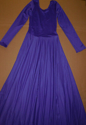 NWT Praise Liturgical Long Sleeve Plum Dress Praisewear Dance Ladies Sizes