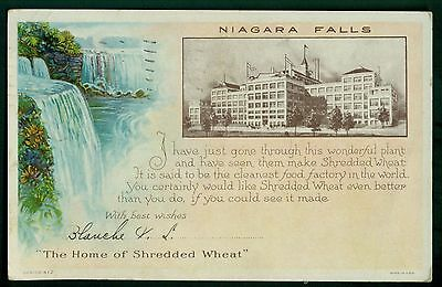 1929 Shredded Wheat Cereal Factory Niagara Falls Advertising Postcard