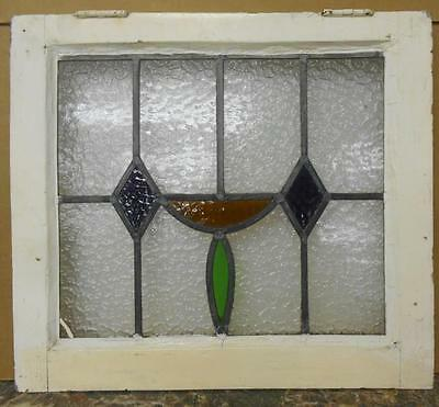 "OLD ENGLISH LEADED STAINED GLASS WINDOW Pretty Geometric Design 21"" x 18.75"""
