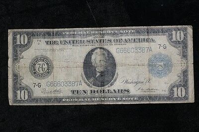 1914 $10 Federal Reserve Note Paper Money #387A
