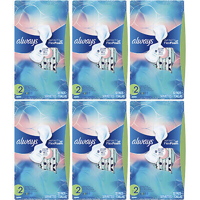 6 Pack - Always Infinity Maxi Pads Heavy Flow with Wings 32 Each