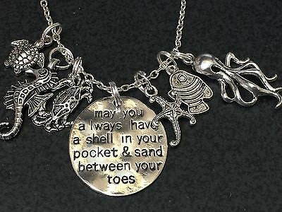 "Beach Comber Sand in my Toes Mix A Charm Tibetan Silver 18"" Necklace"