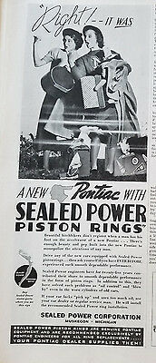 1936 A New Pontiac Sealed Power Piston Rings Women HItchhikers Original Ad