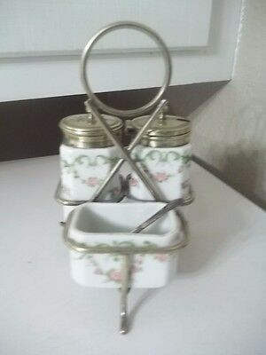 VINTAGE ANTIQUE FLORAL Porcelain Condiment Set OPEN SALT WITH CASTOR GERMAN ?