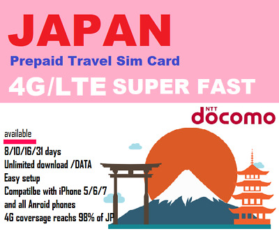 Travel to Japan? 8 days Prepaid data SIM card-NTT DOCOMO UNLIMITED DOWNLOAD