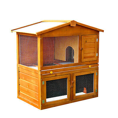 Rabbit Guinea Pig Ferret Wood Hutch House Cage Pen Double-deck Built In Run