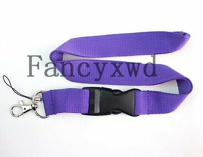 High Quality Lanyard Strap Badge ID Detachable Keychain Purple SC -6