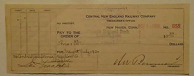 Central New England Railway Company Check 1920 - issued & cancelled