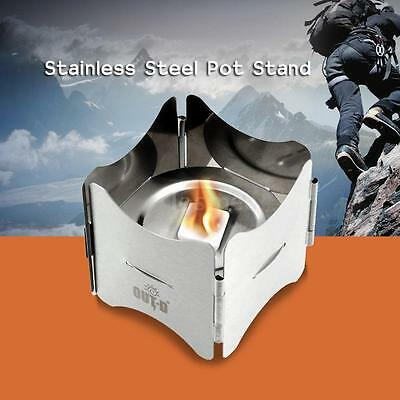 Trekking Folding Stainless Steel Pot Stand with Tray Solid Fuel Stove Stand J4Q2
