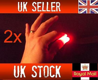 2x Magic Light up thumbs fingers RED trick appearing light close up