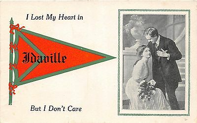 A81/ Idaville Indiana In Pennant Postcard 1913 Lost My Heart Romance